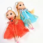 "Big 6"" Fashion Doll Keychains w/ Gold Print Dress Asst Colors  .58 ea"