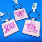 Best Quality Square Metal Breast Cancer Support Keychains .56 each