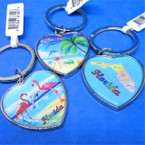 Best Quality Heart Shaped Florida Theme Metal Keychains .54 each