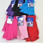 Mixed Color Knit Fingerless Magic Gloves 12 pair pk .56 ea pair