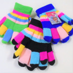 Multi  Color Knit Kid's Magic Gloves 12 pair pk .56 ea pair