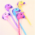 "9"" Embroidered Plush Unicorn Novelty Pens Asst Colors .56 each"