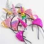 Unicorn Fashion Headbands w/ Sequin Cat Ears  .56 each