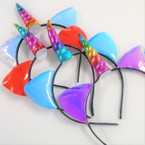 Rainbow Unicorn Fashion Headbands w/ Shiney Cat Ears  .56 each
