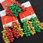 Cluster of Jingle Bell Christmas Earrings on Festive Card .56 each