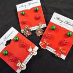 3 Pair Fashionable Christmas Earrings on Festive Card .56 per set