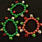 Chunky Red & Green Jingle Bell Stretch Bracelets .56 ea