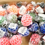 "1.5"" Change Color Squish Mesh Ball w/ Clip 24 per bx .62 each"
