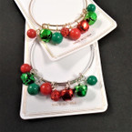 Gold & Silver Christmas Wire Bangle w/ Bells & Beads .56 each