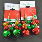 Lg. Cluster of Jingle Bell Christmas Earrings on Festive Card .56 ea