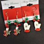 Jingle Bell Christams Earrings w/ Candle/Mittens Theme .54 each