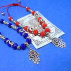 Red & Blue Bead Bracelets w/ Silver Hamsa .54 each