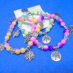 Gradiant Color Bead & Crystal Bracelets w/ Silver Tree of Life Charms .54 ea