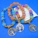 Glass Bead Bracelets w/ Gold Tree of Life Charms .54 ea