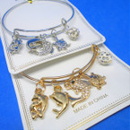 Gold & Silver  Wire Bangle w/ Dolphin & Turtle Charms  .54 each