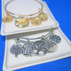 Gold & Silver  Wire Bangle w/ Tree of Life Charms  .54 each