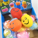 Smile Face Moody Squish Balls Clay Feel  12 per bx   .65 each