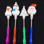 "10"" Flashing 3 Function Bobble Christmas Wands  12 per pk .75 each"