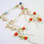 Gold Wire Fashion Headband w/ Mixed Color Flowers .54 ea