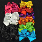 "5"" 2 Layer Gator Clip Bows Solid/Glitter Asst Colors .54 each"