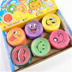 "3"" Round Fruit Scented EMOJI Theme Crystal Putty 12 per box .50 each"