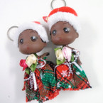 "Christmas Theme 5"" African American Doll Keychains .56 each"