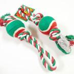 "11"" Christmas Color Dog Pull Rope w/ Tennis Ball 12 per pk .80 ea"