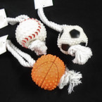 "8"" Sports Theme Squeaky Ball Dog Pull Rope   12 per pk .80 ea"