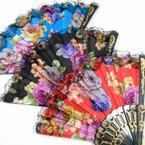 "9"" Blk Handle Flower Pattern Lace Hand Fans .55 each"
