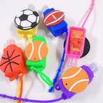 "3"" Sports  Theme Fruit Scented Hand Santizers 12 per pk @ .56 each"