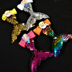"4"" Sequin Change Color Mermaid Tail Gator Clip Bows .54 ea"
