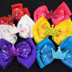 "4"" Sparkle Crown Theme Gator Clip Bows 24 per pack .30 each"