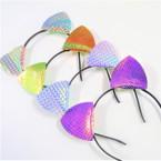Mixed Pattern Super Shiney Cat's Ear Headbands .54 ea