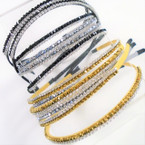 2 Line Two Tone Rhinestone Fashion Headbands Gold,Silver,Black  .54 ea
