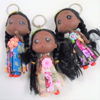 "5"" African American Doll Keychains w/ Fancy Outfit  .56 each"
