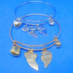 Gold & Silver  Wire Bangle w/ Best Friend Charms  .54 each