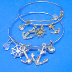 Gold & Silver  Wire Bangle w/ Mixed Nautical  Charms  .54 each