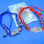Red & Blue Macrame Eye Bead Bracelets w/ Silver Stone Hamsa .54 ea