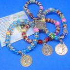 Crystal Beaded Bracelet w/ Silver San Benito Charm .54 each