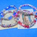 Crystal Bead & Color Disc Bracelet w/ Silver San Guadalupe  Charm .54 each