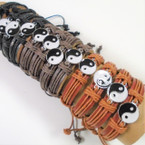 Teen Leather Bracelet w/ Ying Yang 3 colors    .54 each