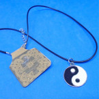 Black Cord Necklace w/ Ying Yang Pendant .54 ea