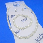 KId's Glass Pearl Necklace & Bracelet Set ALL White  .54 ea set