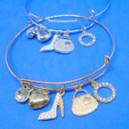 Gold & Silver  Wire Bangle w/ Hi Fashion Charms   .54 each