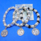 Pearl & Crystal Bead Bracelets w/ San Benito Dbl Side Charm .54 ea