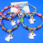 Mixed Style Beaded Stretch Bracelets w/ Unicorn Charm  .54 ea