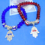 Red & Blue Crystal Beaded Bracelets w/ Eye Beads & Cry. Stone Hamsa .54 ea