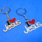 Great Quality Gold/Silver I Love JESUS Metal Keychains .54 ea