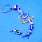Silver Crystal Stone Turtle Keychains w/ Eye Beads .54 ea