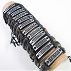 Teen Leather Bracelet w/ Mixed Inspiration Sayings  .54 ea